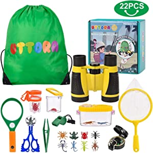 UTTORA Outdoor Explorer Kit, Kids Binoculars Set with Compass, Magnifying Glass, Butterfly Net for 8+ Old Boys and Girls, Kids Telescope Adventure Kit Children Outdoor Educational Kit (22PCS)
