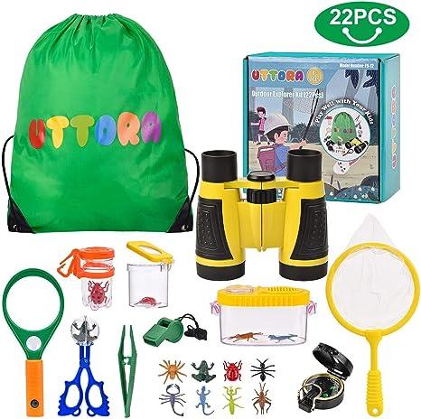 Kit de Exploración para Niños 22 en 1, Juego de Explorador para Niños para Niños UTTORA Prismáticos/Binoculares, Silbato, Brújula, Lupa, 6 Arañas Plasticas, Regalo para Navidad, los Reyes: Amazon.es: Electrónica