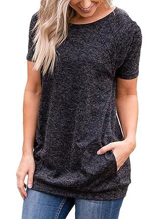4f26c4db131 Amazon.com  unbrand Women s Raglan Short Sleeve Tunic Shirt with ...