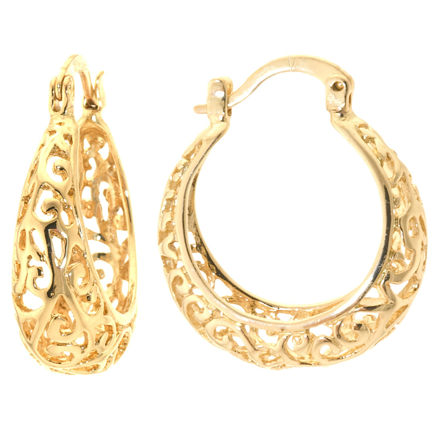 Silver on the Web 24K Gold Plated Filigree Hoop Earrings, (1.05'' Diameter)