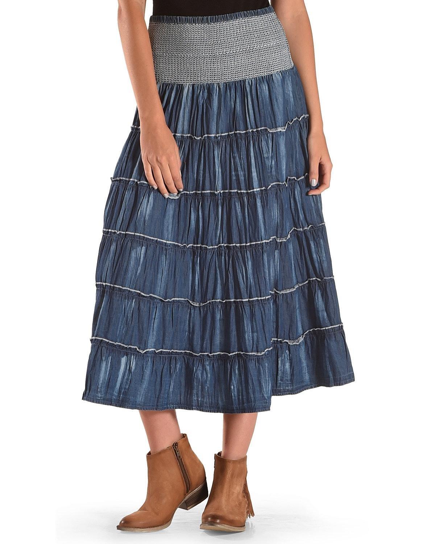 New Direction Sport Women's Indigo Denim Ruffle Long Skirt Indigo Medium
