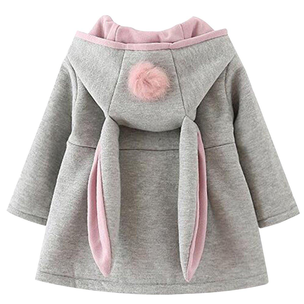 Bai You Mei Baby Girls Toddler Kids Rabbit Ear Winter Cotton Warm Jacket Coat Outerwear Hood Hoodie