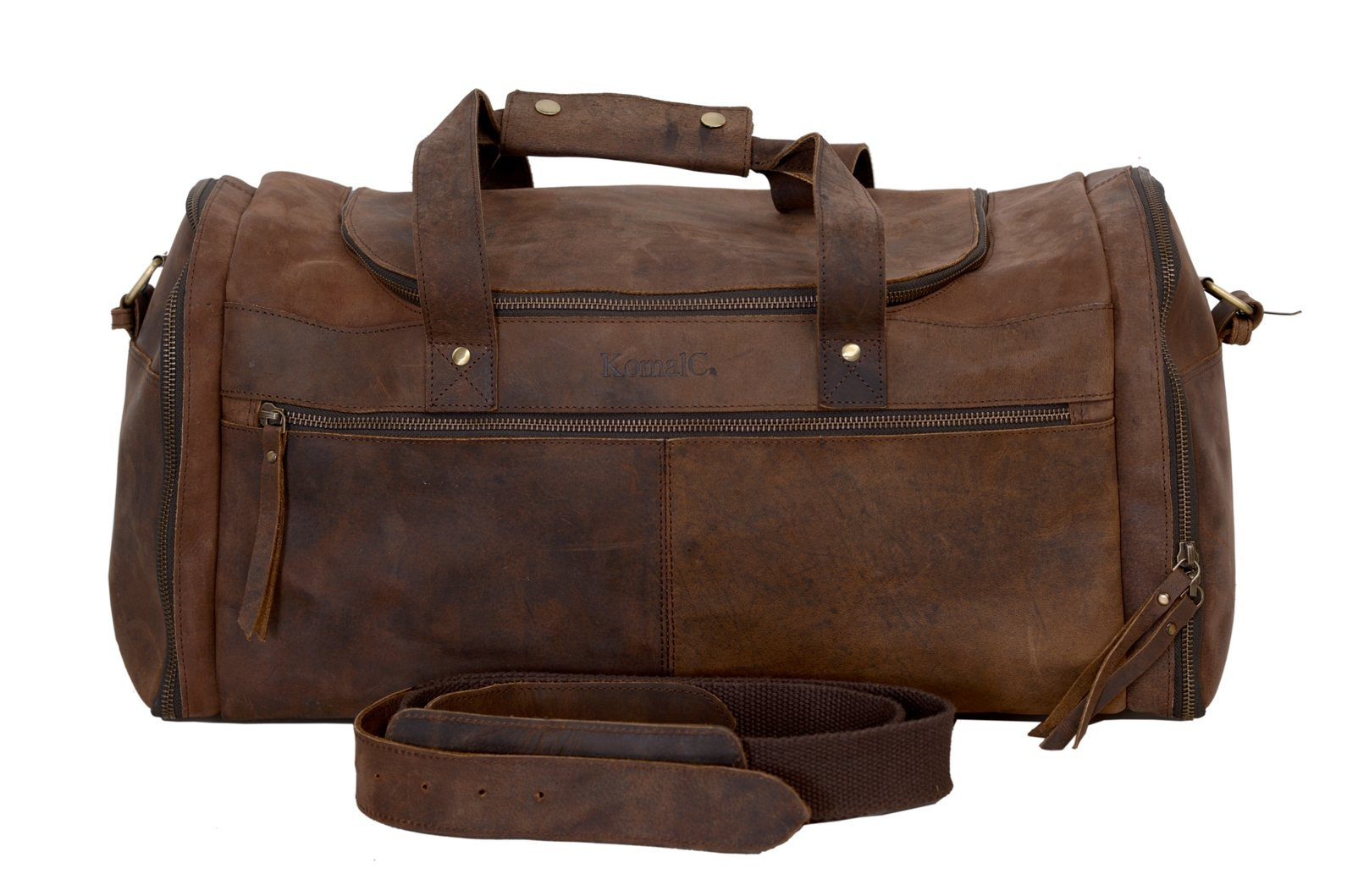KomalC 21 inch U Zip Duffel holdall Travel Sports Overnight Weekend Leather Bag for Gym Sports Cabin by KomalC (Image #1)