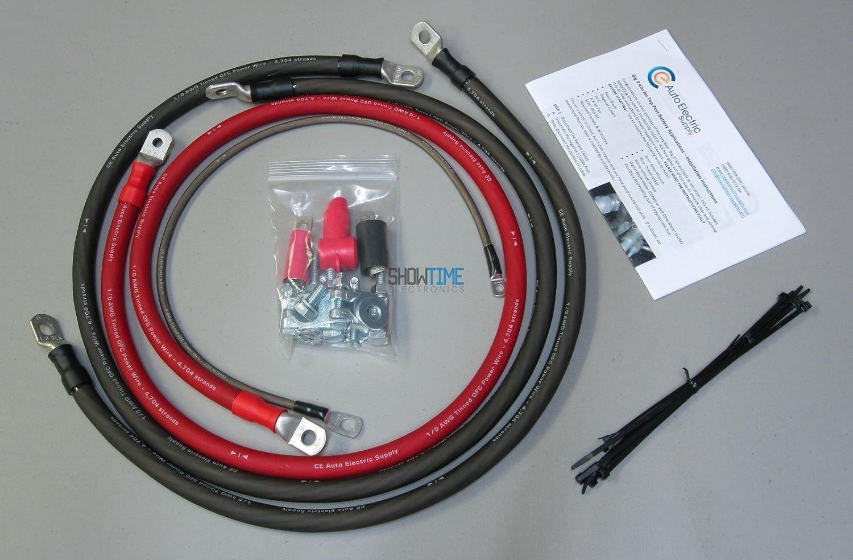 4 ft Top Post Batteries Big 3 Kit Big 3 Wire Kit 1//0 AWG Big 3 Upgrade Kit