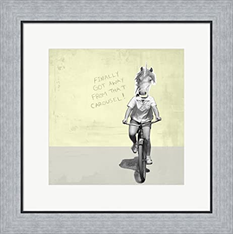 Amazon.com: Carousel Unicorn Framed Art Print Wall Picture, Flat ...
