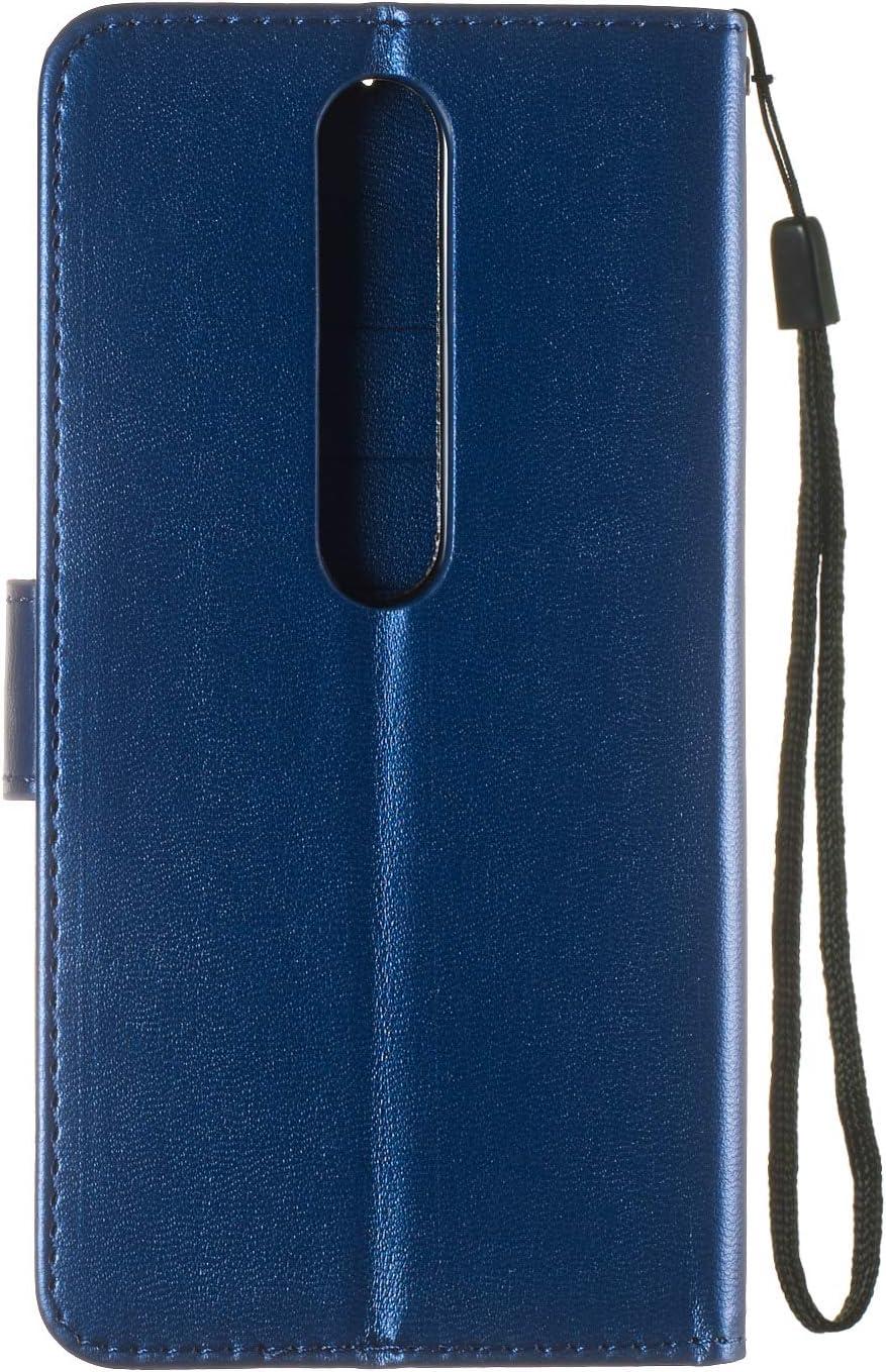 LOYHU250537 L2 Lomogo Nokia 6.1 2018 Case Leather Wallet Case with Kickstand Card Holder Shockproof Flip Case Cover for Nokia6.1
