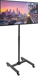Mount-It! TV Mount Stand with Wheels - Height Adjustable While TV is Mounted | Max Height 4 Feet | Tall Narrow TV Stand Rolls Under Furniture | Mobile TV Cart is Packable and Portable