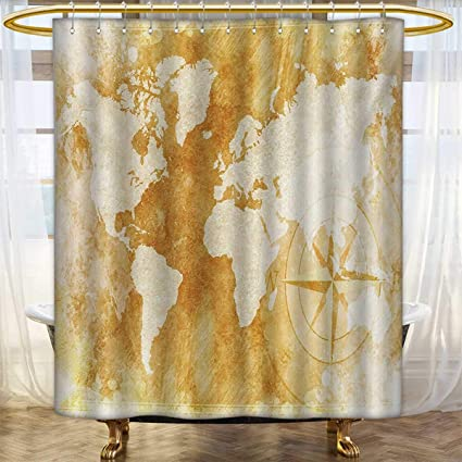 Lacencn CompassShower Curtains Mildew ResistantOld Fashioned World Map Design With Compass In