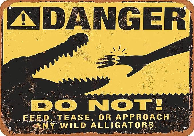 Wise Degree Danger Alligators Cartel de Metal Pared Arte ...