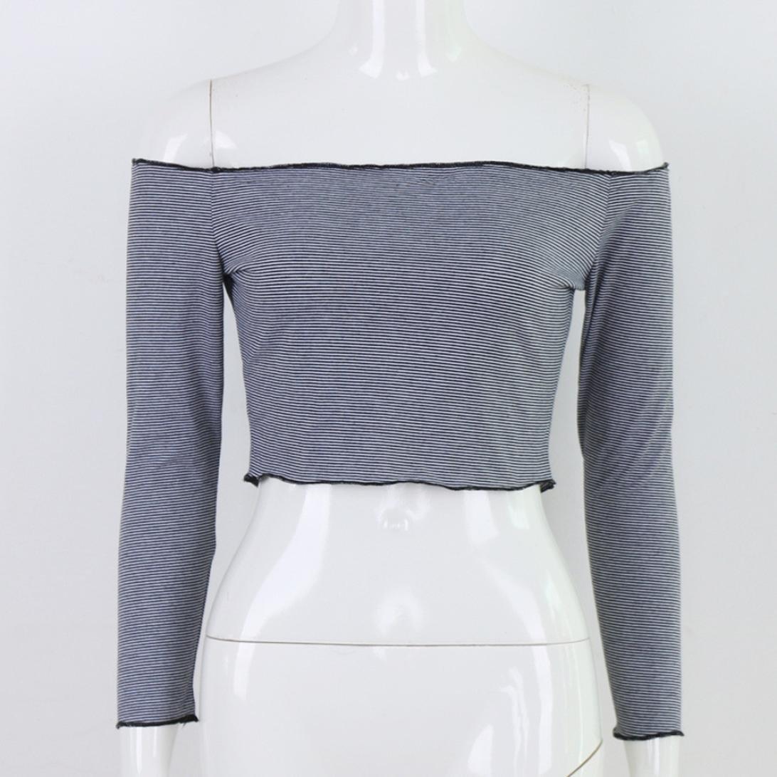 ❤ Camiseta de Manga Larga para Mujer con Hombros Descubiertos, Blusa Informal de Rayas Sueltas Absolute: Amazon.es: Ropa y accesorios