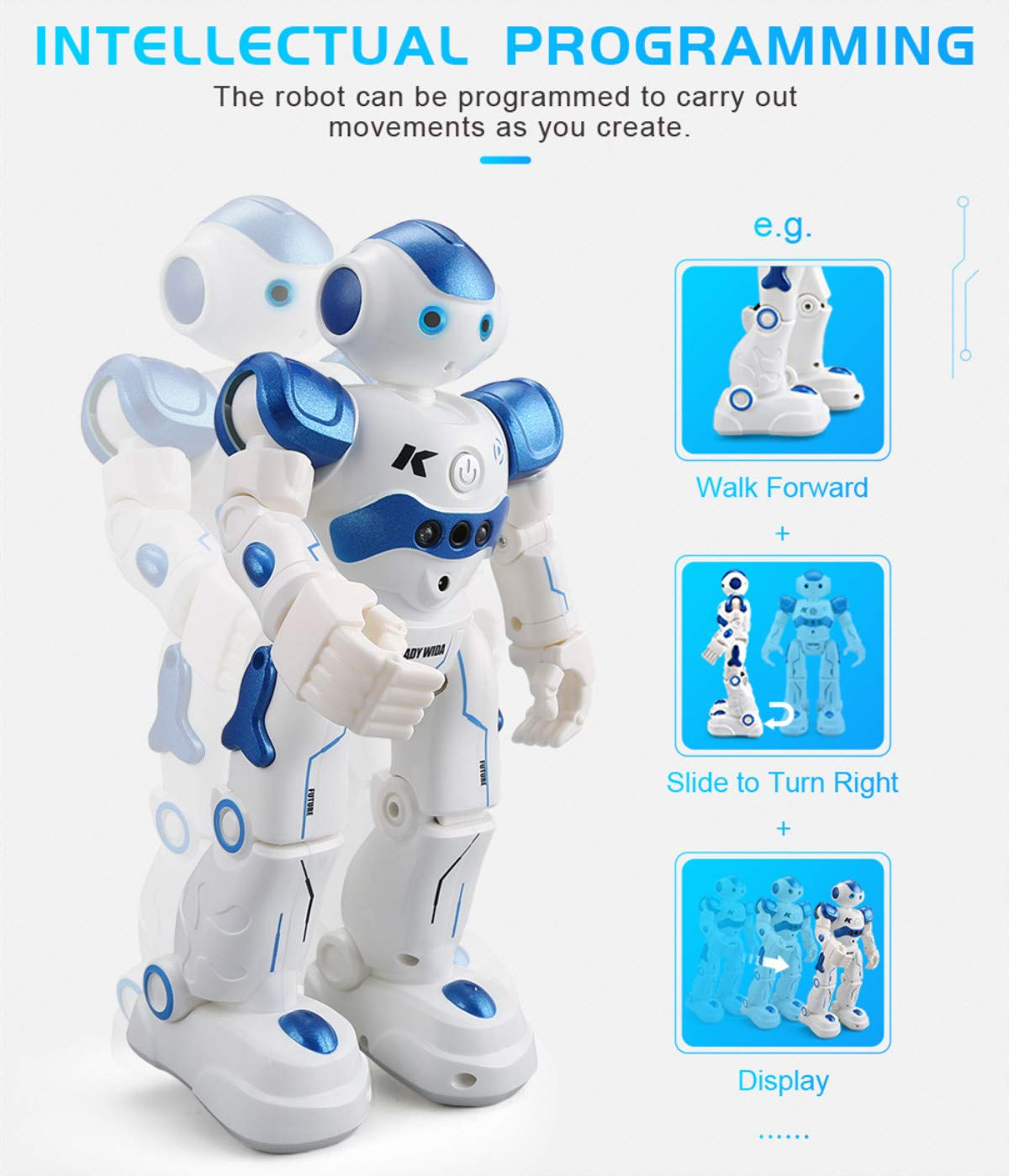 WEECOC Smart Robot Toys Gesture Control Remote Control Robot Kids Toys Birthday Can Singing Dancing Speaking Two Walking Models (White) by WEECOC (Image #8)
