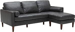 "Amazon Brand – Rivet Aiden Mid-Century Modern Leather Reversible Sectional Sofa, 86""W, Black"