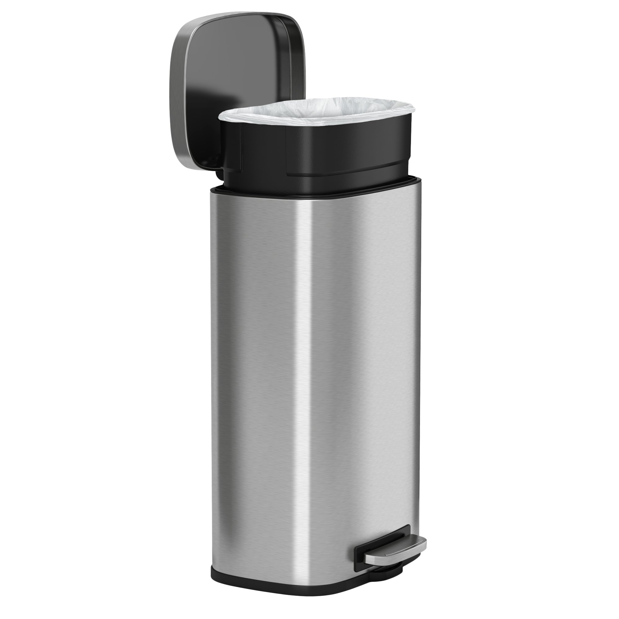 iTouchless SoftStep 8 Gallon Stainless Steel Step Trash Can, 30 Liter Pedal Kitchen Trash Can Perfect for Office, Home and Kitchen by iTouchless (Image #2)
