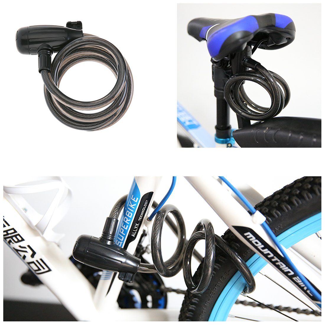 Bike Cable Lock, Shunfa 4ft x 0.47in Heavy Duty Braided Stainless Steel Cable Bicycle Lock with Mounting Bracket and 2 Keys, Security Level 4 by Shunfa (Image #8)