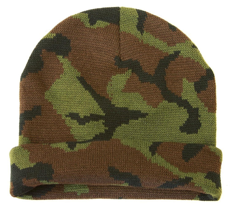 Knit Woodland Camo Cuff Long Beanie - Winter Wear/Sports - Green
