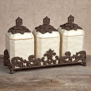 gg collection 3 piece ceramic canister set with metal base cream - Gg Collection