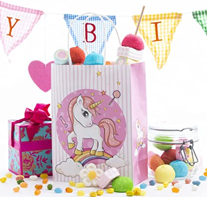 12 Pack Unicorn Kids Birthday Favor Party Bags, For Favors, Gifts, Goodies, Candy and Treats! Decoracion De Unicornio Para Cumpleaños! Cute And Unique ...