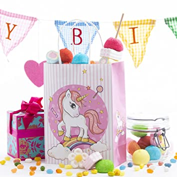 12 Pack Unicorn Kids Birthday Favor Party Bags, For Favors ...