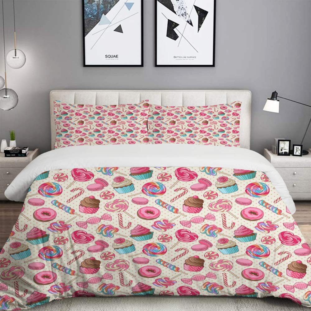 BOKEKANG Candy Cane Yummy Sweet Lollipop Candy Macaroon Cupcake and Donut on Polka Dots Pattern Studio Single Apartment Decorate Bedding Set Custom 3 PC Duvet Cover Set with 2 Pillow sham by BOKEKANG