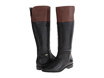 Cole Haan Women's Primrose Riding Boot (wide calf),Black/Harvest Brown,