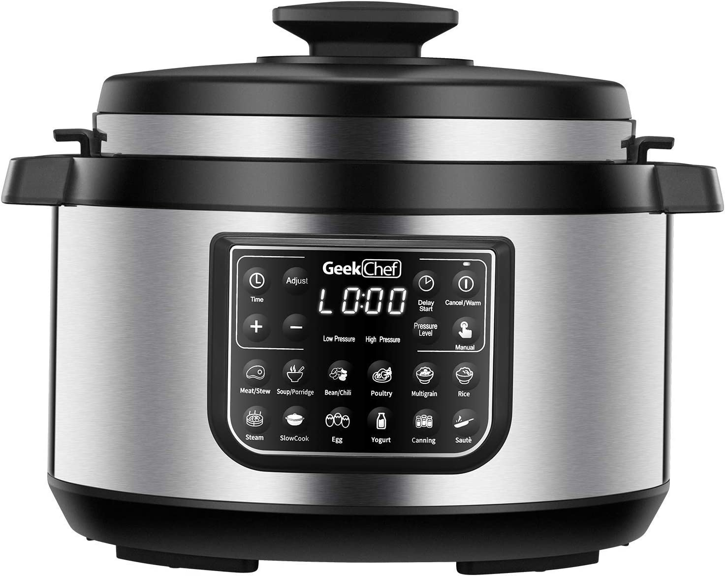 Geek Chef 8 Qt 12-in-i Multiuse Programmable Electric Pressure Cooker Oval, Slow Cooker, Rice Cooker, Steamer, Sauté, Yogurt Maker and Warmer, Non-Stick Pot Has Cool-Touch Handles, EZ-Lock (GP80Plus) (Renewed)