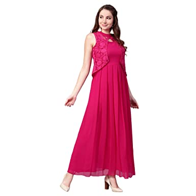 6d59d58a245fc9 Athena Romantic Fuchsia Lace Maxi Dress with Pleated Skirt for Women (Size    XXL)