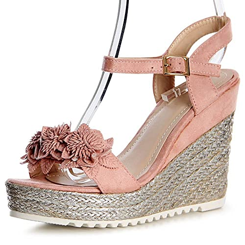 1139 Topschuhe24 Keilabsatz Blume Sandalen Sandaletten Damen n0wN8XkPO