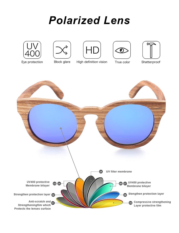 0539ab09504 Amazon.com  Arctic Penguin Small Round Classic Sunglasses Polarized UV400  (Wooden
