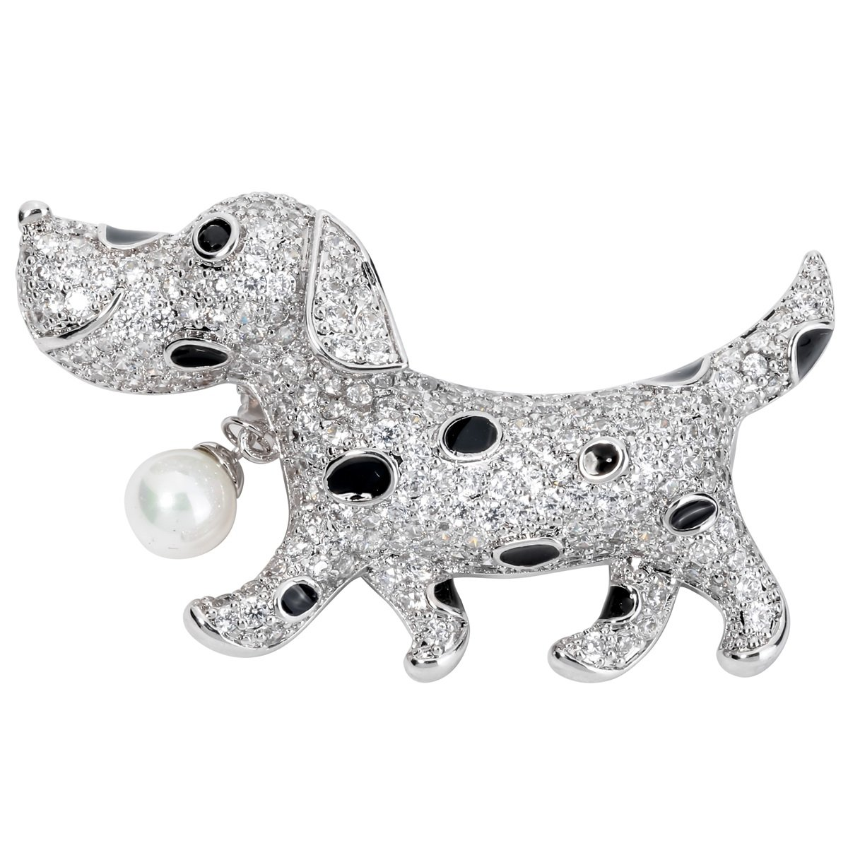 Spotty Dog Crystal Brooch