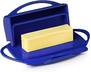 Butterie Flip-Top Butter Dish with Matching Spreader (Cobalt Blue)