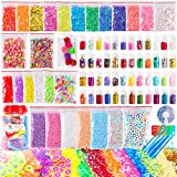 OPount 82 Pack Making Kit Supplies for Slime Including Foam Balls, Fishbowl Beads, Glitter Jars, Pearls, Fruit Slices,Sugar Paper, Candy Sweets Beads and Tools for DIY Slime Making(Not Contain Slime)