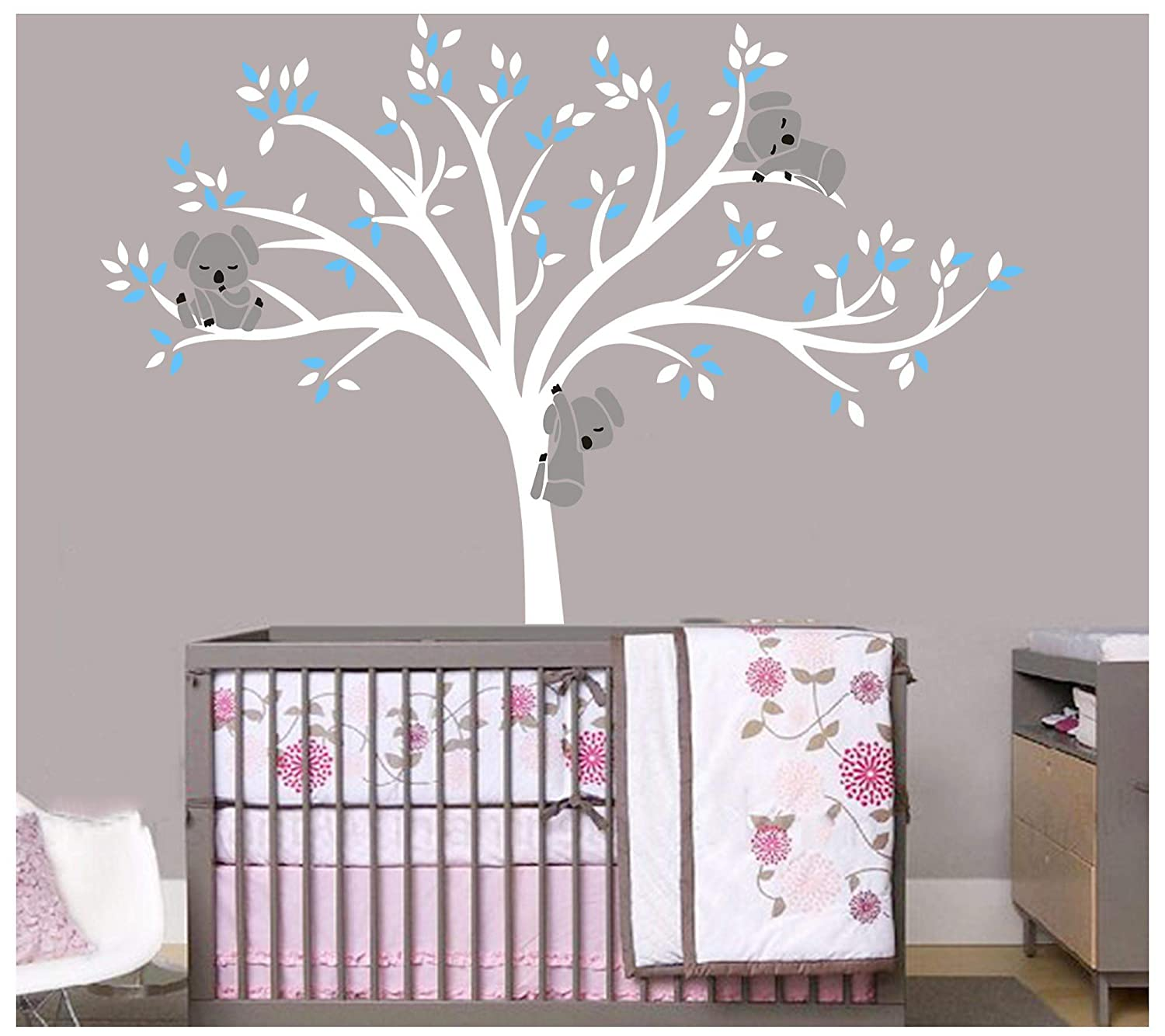 Wandsticker f/ür Kinderzimmer Pink bdecoll 3/ Koalas Tree Branches Wall Decal Wall Sticker Baby Nursery Decor Kids Room//Vinyl Wandtattoo