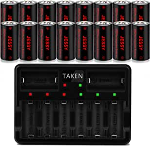 CR123A Rechargeable Batteries 16 Pack with Charger, Arlo Rechargeable Lithium Batteries [ 750mAh 3.7V ] for Arlo Cameras (VMC3030/VMK3200/VMS3330/3430/3530), Flashlight, Security Cameras Alarm System