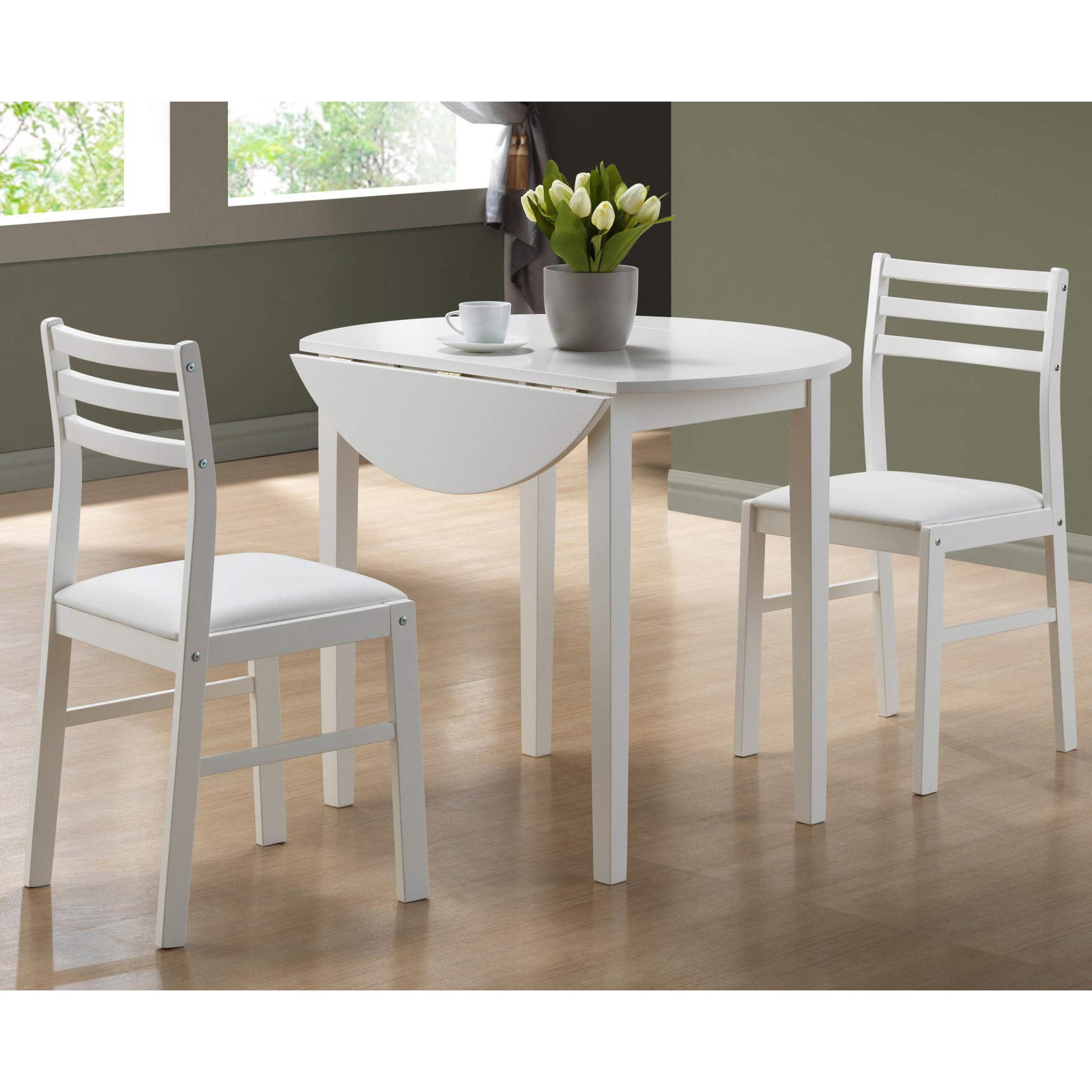 Monarch Specialties I I 1008 3-Piece Dining Set with 36'' Diameter Drop Leaf Table, White