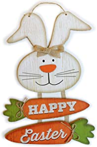 Easter Decorations for the Home Farmhouse Bunny Carrots Happy Easter Decor Signs Gifts for Kids Room Wall Art Rabbit Sign for Front Door Kitchen Yard Outdoor Porch Wooden Gift Easter Hanging Plaque