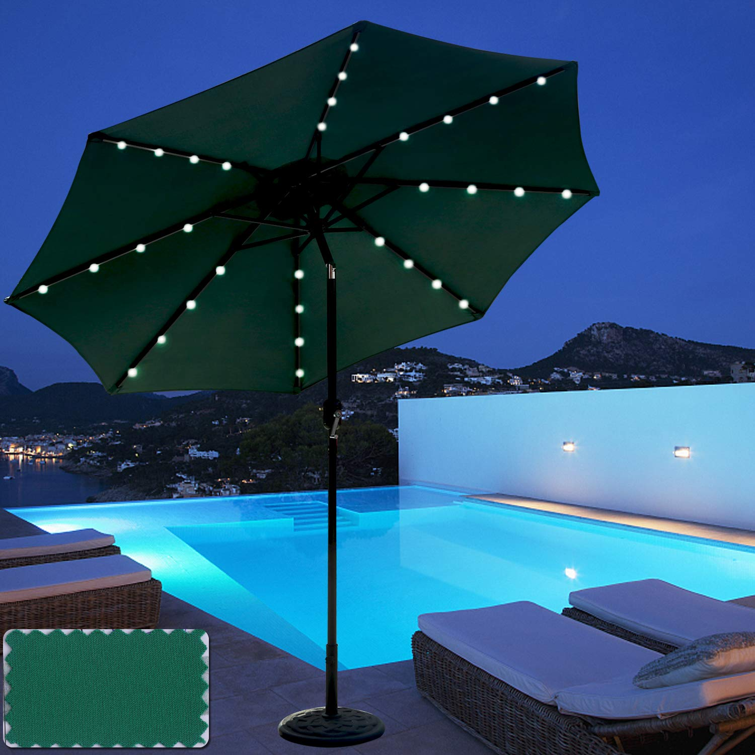 ABCCANOPY 9 FT Solar Powered Patio Umbrella 32LED Lights Solar Umbrella with Tilt and Crank,Dark Green