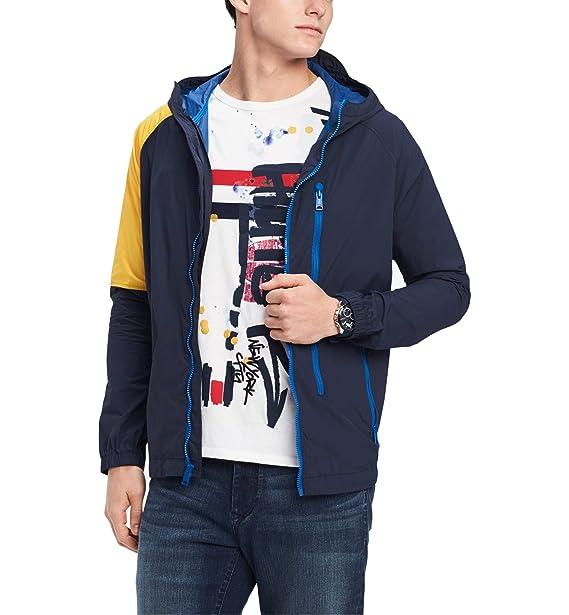buy sale pretty nice classic Tommy Hilfiger Yellow Men Windbreaker Colorblock Jacket Blue ...