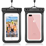 """Universal Waterproof Case CellPhone Dry Bag Pouch for iPhone 7 / 7 Plus / 6s / 6s Plus, SE 5S, Galaxy S7, S6 Note 5 4, HTC LG Sony Nokia Motorola up to 6.0"""" diagonal (Black)"""
