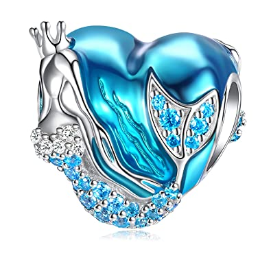 425a5a3d496ea Mermaid Charms fit Pandora Charms Bracelet, 925 Sterling Silver Charms Bead  CZ Heart Shape Blue Enamel Bead Ocean Sea Charm for European Snake ...
