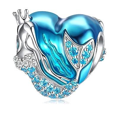 8d574b4c2 Mermaid Charms fit Pandora Charms Bracelet, 925 Sterling Silver Charms Bead  CZ Heart Shape Blue