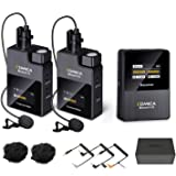 Comica BoomX-D2 2.4GHZ Dual Wireless Lavalier Microphone, Wireless Lapel Mic with 2 Transmitter, 1 Receiver for Canon Nikon S