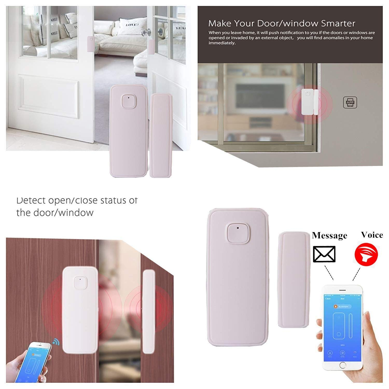 paquete de 1 El detector de sensor de im/án de puerta de ventana inteligente funciona con Alexa Google Home IFTTT para el sistema de alarma de seguridad antirrobo
