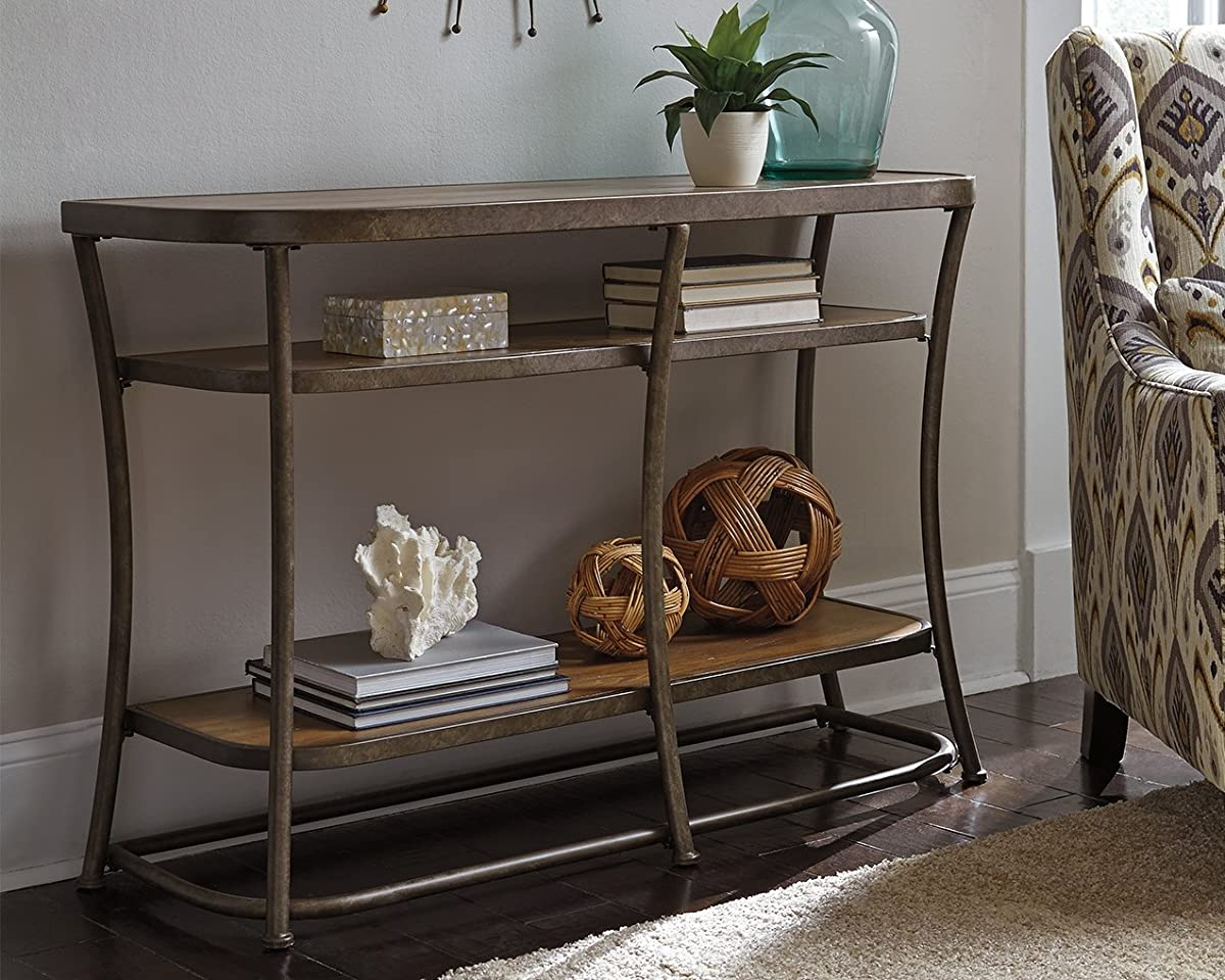 Ashley Furniture Signature Design - Nartina Sofa Table - 4 Fixed Shelves - Rustic Pine Shelves and Top - Vintage Casual - Light Brown