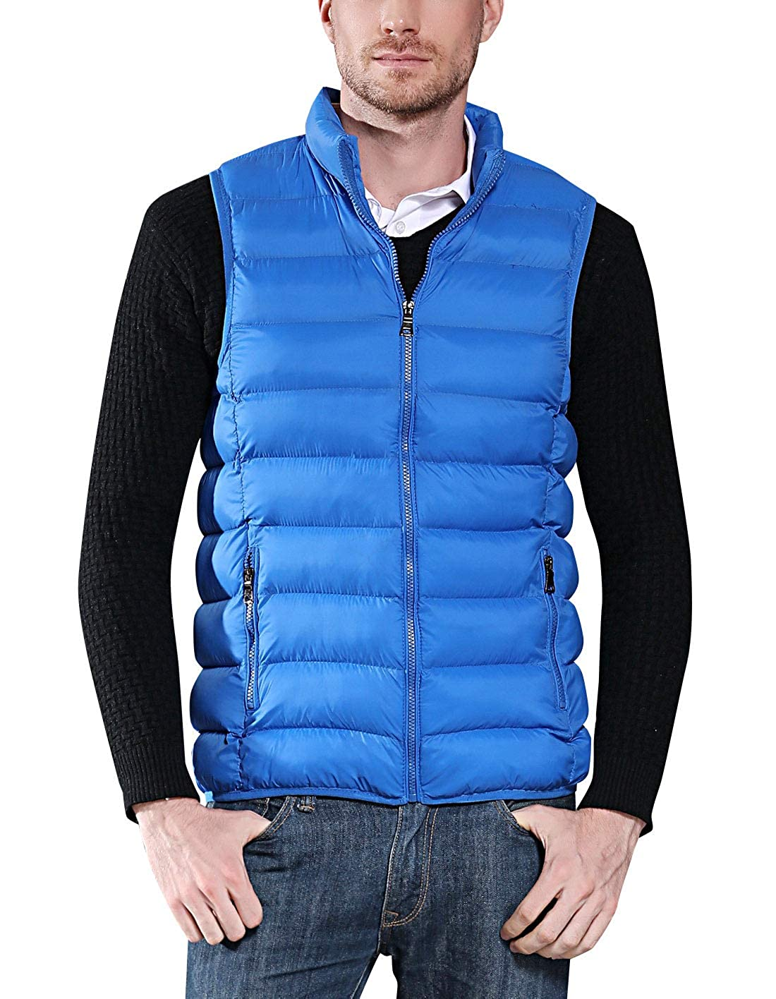 COUTUDI Mens Winter Warm Down Cotton Vest Fashion Casual Coat
