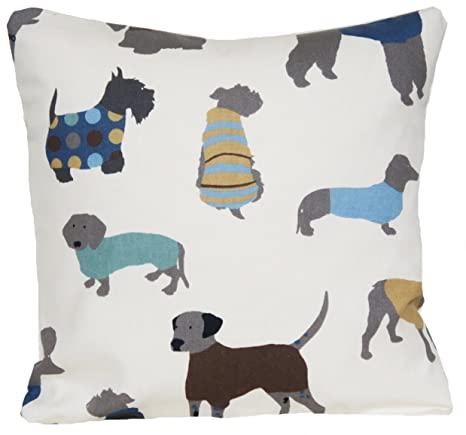 Amazon.com: Perros manta decorativa Funda de almohada crema ...