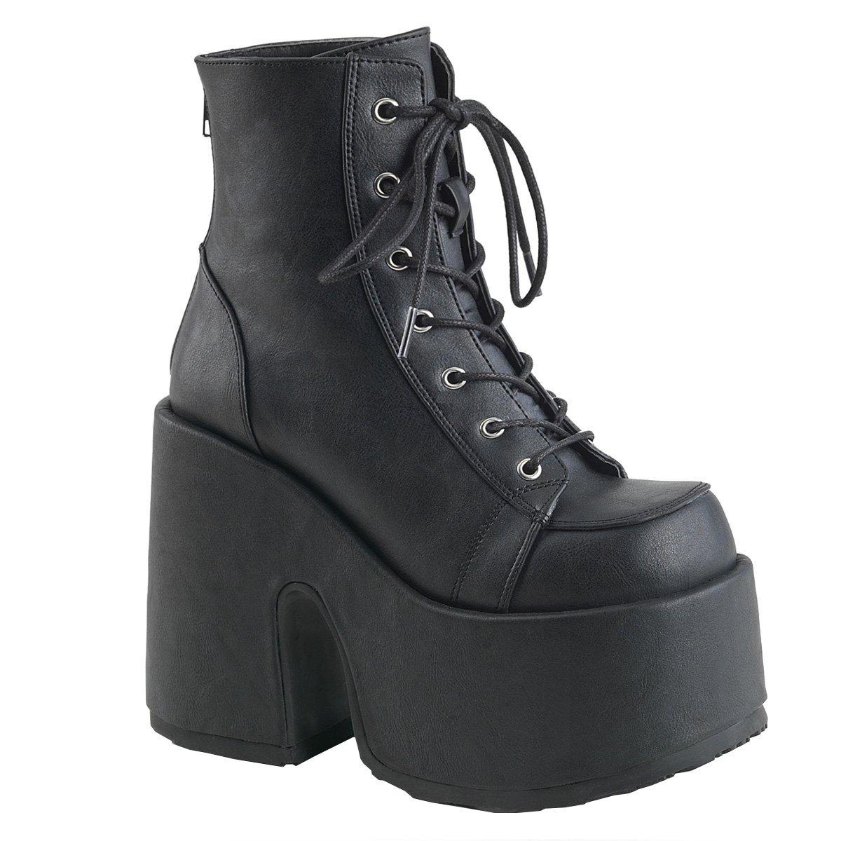 Demonia Damen Platform Schnür Stiefelies Stiefel Camel-203 Mattschwarz