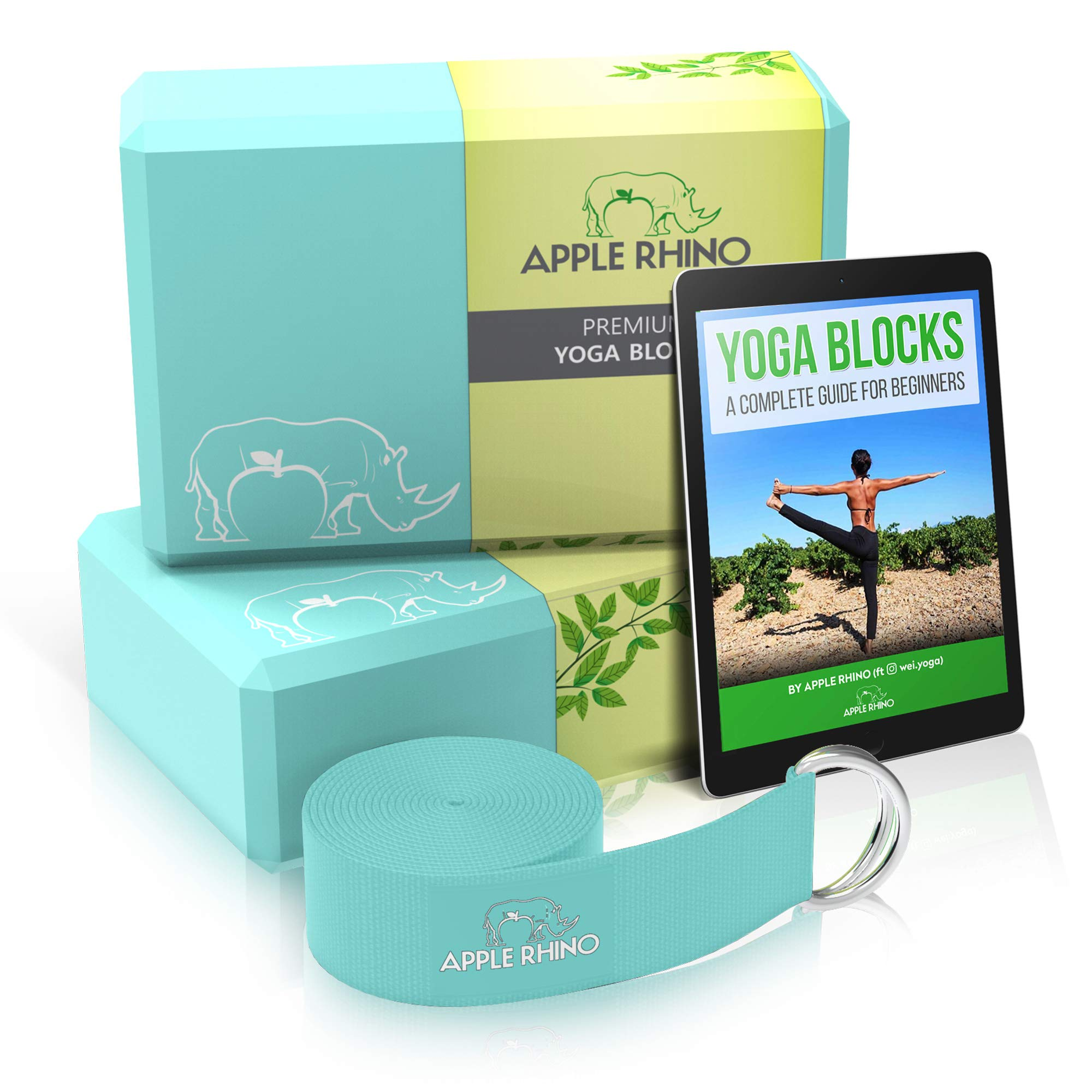 APPLE RHINO Premium 2nr Yoga Blocks and Strap - Includes FREE e-Book; 2 pack high density yoga block with metal D ring cotton belt; provides Stability, Balance, Strength for yoga and pilates practice