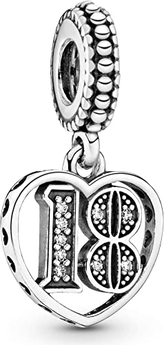 Pandora Damen Moments 18. Geburtstag Charm-Anhänger Sterling Silber, Cubic  Zirkonia 797262CZ