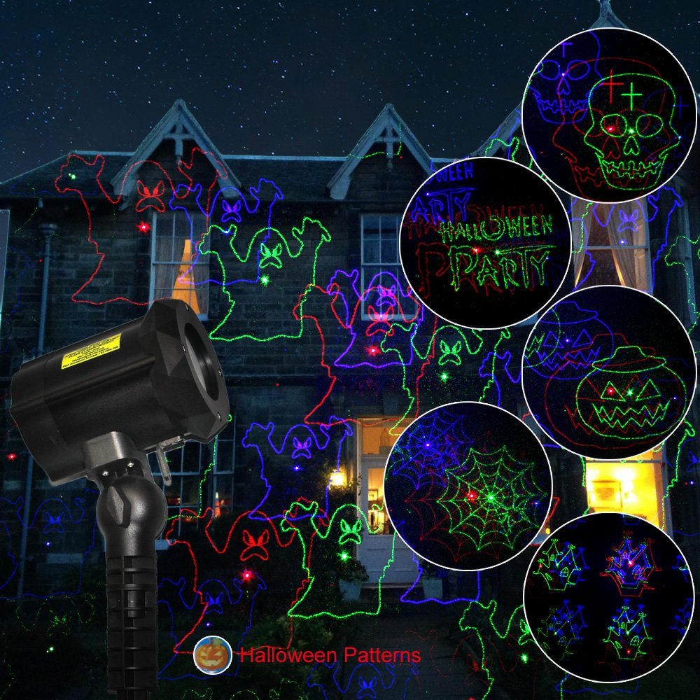 Poeland Garden Laser Lights Projector 18 Festive Designs for Christmas Halloween Blue Green Red 3 Color with Security Lock Remote Timer by Poeland (Image #4)