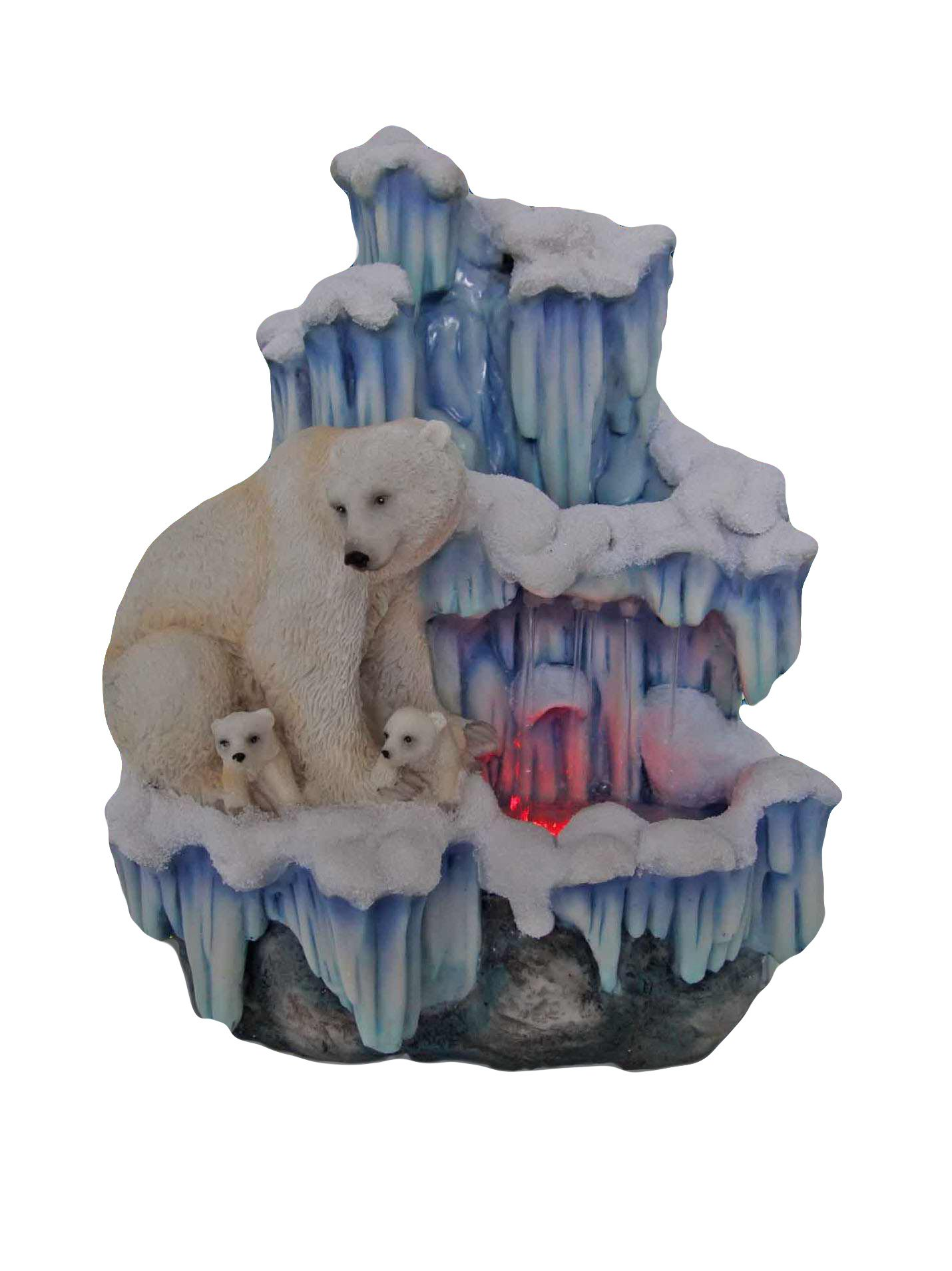 SINTECHNO SNF12076-3 Aristic Sculptural Mother Polar Bear with Her Cubs on Iceberg Tabletop Water Fountain by SINTECHNO